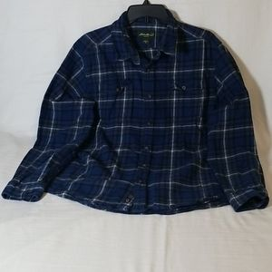 Eddie Bauer Plaid Cotton Button Down Collar Shirt